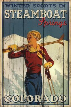 Winter Sports in Steamboat Springs Colorado Ski Art Print Poster