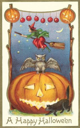 Witch, Owl Perched on Jack O'Lantern
