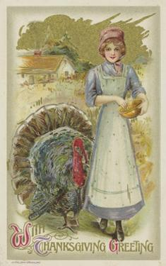 With Thanksgiving Greeting Postcard