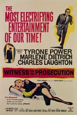 Witness for the Prosecution, Tyrone Power, Charles Laughton, Marlene Dietrich, 1957