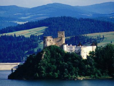 Horvath Castle on Czorsztyn Lake from Czorsztyn Castle, Niedzica, Malopolskie, Poland