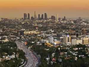Los Angeles Downtown as Seen from Hollywood Bowl Overlook, at Dusk by Witold Skrypczak