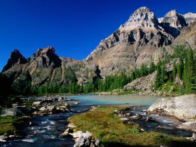 Mt. Huber on Right and Wiwaxy Peaks in Lake O'Hara Area, British Columbia, Canada