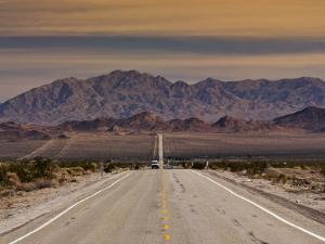 Route 66 Near Chambless with Marble Mountains in Distance, Mojave Desert by Witold Skrypczak