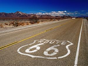 Route 66 Sign on Highway Near Amboy, Mojave Desert, California by Witold Skrypczak