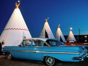 Wigwams and Old Car, Wigwam Motel, Route 66, Holbrook, Arizona by Witold Skrypczak