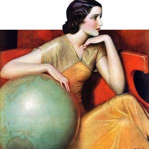 """Woman and Globe,""May 12, 1934 by Wladyslaw Benda"