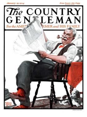 """""""Eggs Take Another Jump,"""" Country Gentleman Cover, January 19, 1924 by WM. Hoople"""