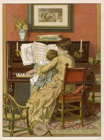 German Mother and Child at the Piano