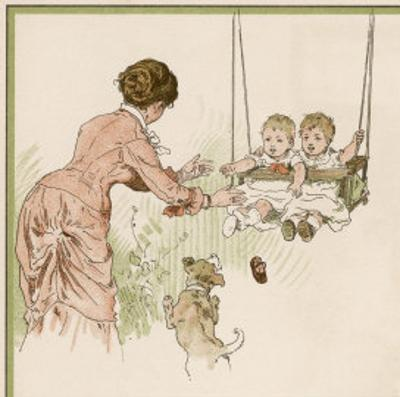 Mother Pushes Her Two Babies on a Swing