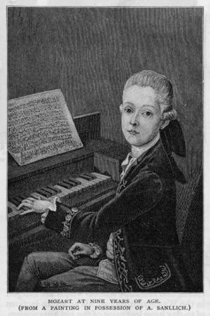 Wolfgang Amadeus Mozart the Austrian Composer at the Age of Eleven Seen at the Keyboard