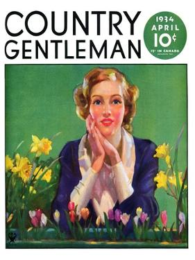 """""""Woman and Spring Flower,"""" Country Gentleman Cover, April 1, 1934"""