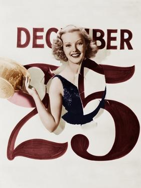 Woman Bursting Through Calendar on Christmas Day
