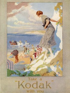 Woman Cautiously Descends a Cliff Path to the Beach Clutching Her Precious Kodak