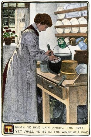Woman Cleaning Pots and Pans in Her Kitchen, circa 1900