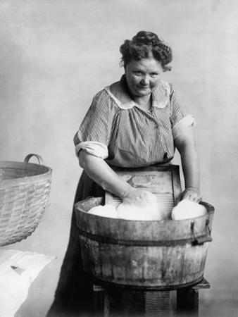 Woman Doing Laundry in Wooden Tub and Metal Washboard, Ca, 1905