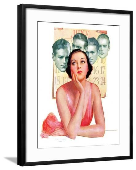 """""""Woman Dreaming of Beaus,""""June 3, 1933-George W. Gage-Framed Giclee Print"""
