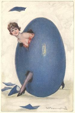Woman emerging from Blue Egg