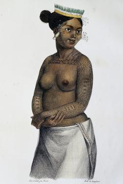 Woman from Saltikoff Islands, Marshall Islands, Illustration by Louis Choris