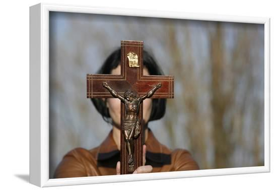 Woman holding forth a crucifix, Isere, France-Godong-Framed Photographic Print