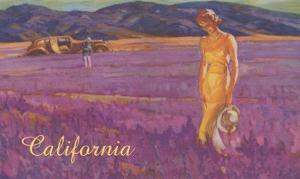 Woman in Field of Purple Flowers, California