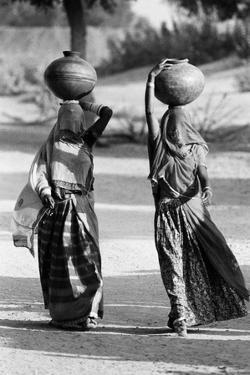Woman in Ghunghat Balancing Pots on Head, Udaipur, Rajasthan, India, 1976