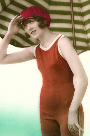Woman in Old Fashioned Bathing Costume