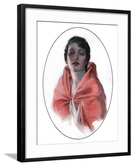 """""""Woman in Shawl,""""June 16, 1923-Rolf Armstrong-Framed Giclee Print"""