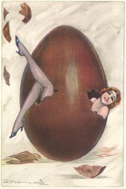 Woman Inside Brown Egg