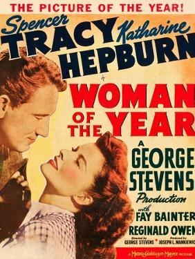 Woman of the Year, Spencer Tracy, Katharine Hepburn on window card, 1942