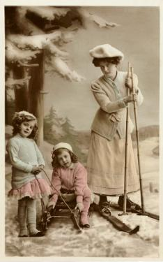 Woman on Skis, Girls on Sled