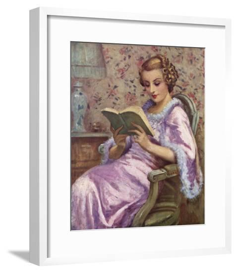 Woman Reading a Book--Framed Giclee Print