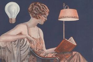 Woman Reading by Electric Light