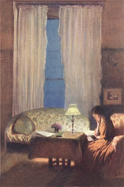 Woman Reading by Lamplight