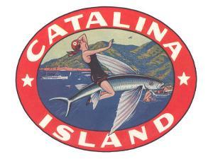 Woman Riding Flying Fish, Catalina Island