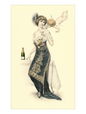 Woman Sampling Champagne with Cupid