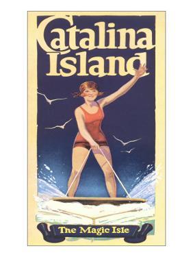 Woman Surfing on Catalina Island