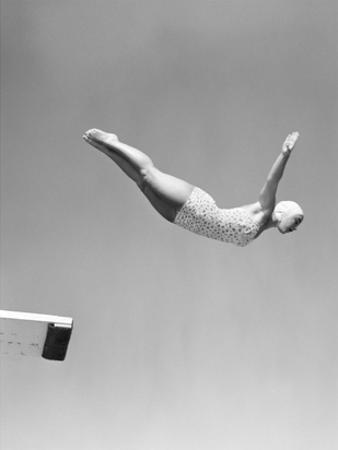 Woman Swan Dive Off Diving Board, 1950