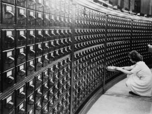 Woman Using the Card Catalog at the Main Reading Room of the Library of Congress, 1940