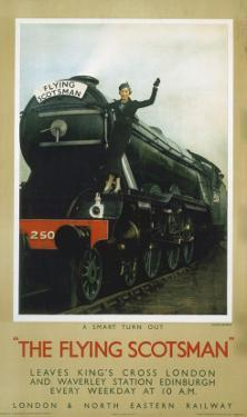 Woman Waiving from the Flying Scotsman