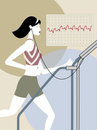 Woman Walking on a Treadmill