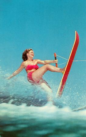 Woman Water Skier, Retro