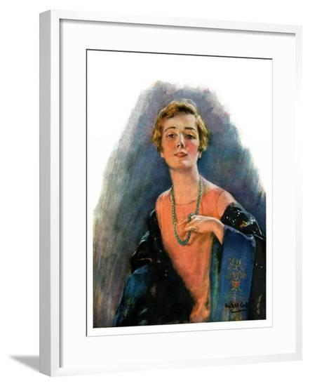 """""""Woman Wearing Beaded Necklace,""""February 26, 1927-William Haskell Coffin-Framed Giclee Print"""