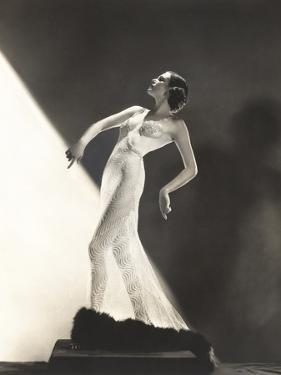 Woman Wearing Sheer Evening Gown