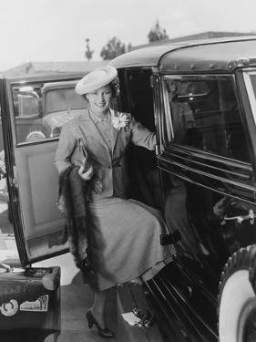 Woman with Car and Luggage