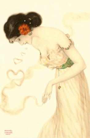 Woman with Heart-Shaped Smoke-Rings, Art Nouveau