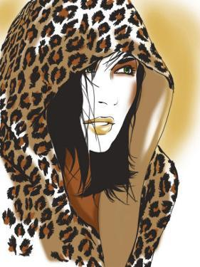 Woman with Leopard Skin Hood
