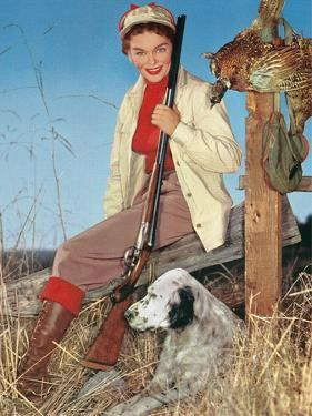 Woman with Rifle, Dog and Pheasant