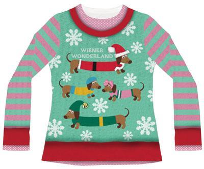 Womans Long Sleeve: Wiener Wonderland Ugly Xmas Sweater Costume Tee