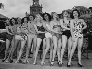 Women Model their Swimsuits at the Roney Plaza, Miami Beach, Florida, C.1940